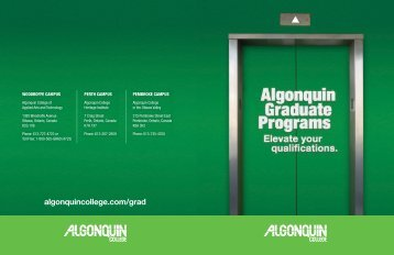 Download our graduate certificate booklet - Algonquin College