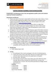 CURTIN STADIUM FLOORBALL RULES & REGULATIONS