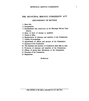 THE MUNICIPAL SERVICE COMMISSION ACT