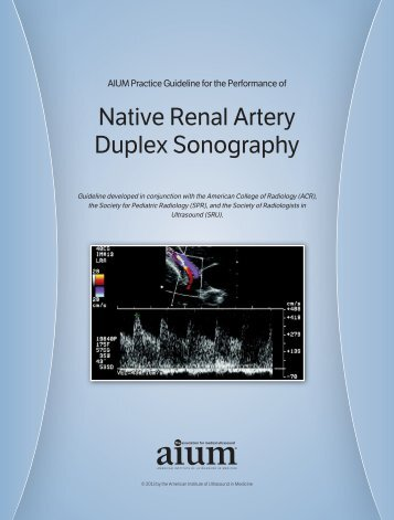 Native Renal Artery Duplex Sonography - AIUM