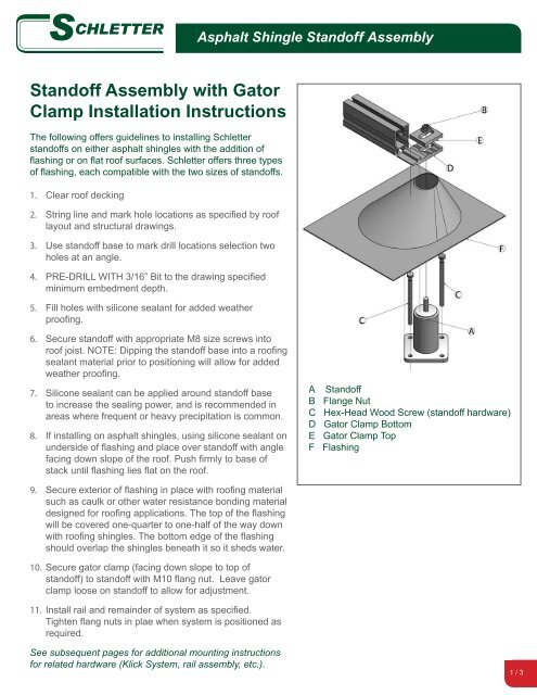 Standoff Assembly with Gator Clamp Installation Instructions