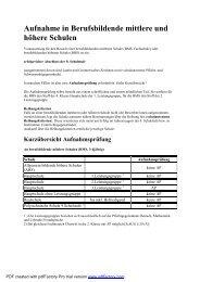 Aufnahme in Berufsbildende mittlere und höhere Schulen
