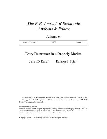 Entry Deterrence in a Duopoly Market