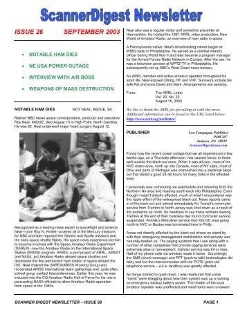 Issue 26 - Scanner Digest Newsletter
