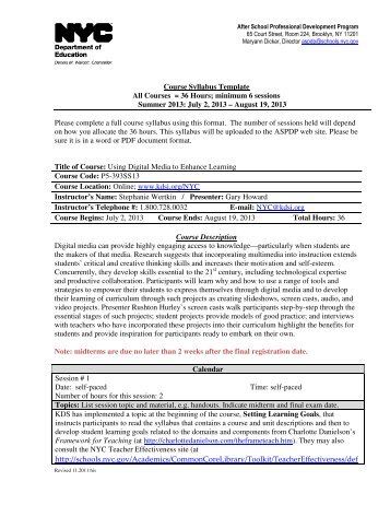 A PST COURSE SYLLABUS TEMPLATE This Is A Template For
