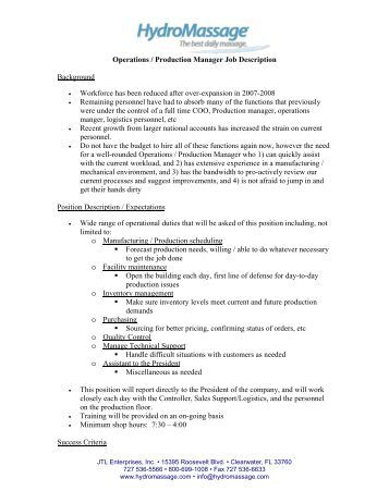 operations production manager job description background - Responsibilities Of A Production Manager