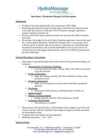 Operations / Production Manager Job Description Background .