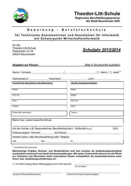 Bewerbung - Theodor-Litt-Schule - Stadt Neumünster