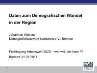 Daten zum Demografischen Wandel in der Region von Johannes Wolters ...