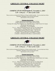 COLLEGE NIGHT AT GREELEY CENTRAL - Greeley Schools