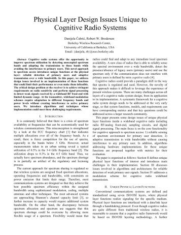 Physical Layer Design Issues Unique to Cognitive ... - M. Javad Omidi