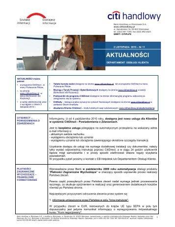 Wersja polska - Aktualności nr 11 (PDF, 195 KB) - Citibank Handlowy