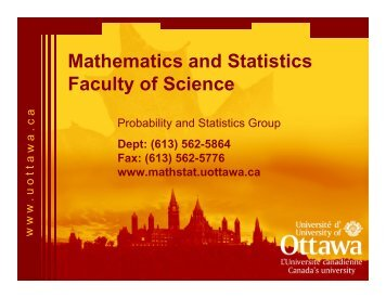 Mathematics and Statistics Faculty of Science