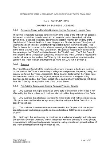 Ch 6-4 Business Licensing - Confederated Tribes of Coos, Lower ...