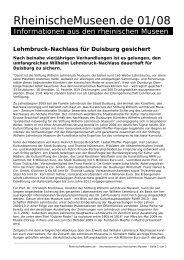 Lehmbruck-Nachlass für Duisburg gesichert - RheinischeMuseen.de