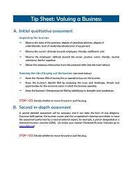 Tip Sheet: Valuing a Business - Canadian Co-operative Association