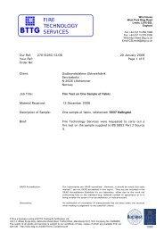 Hallingdal Fire BS 5852-2 crib 5 - Gudbrandsdalens Uldvarefabrik as