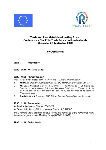 Conference on trade in raw materials