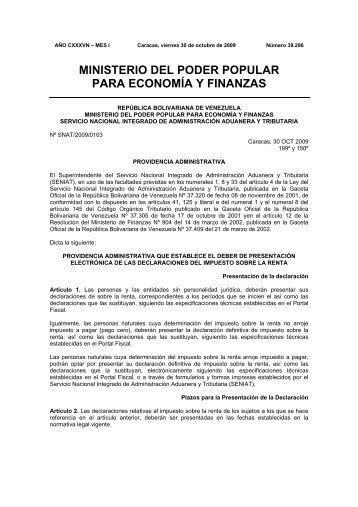 ministerio del poder popular para economía y finanzas - cpzulia.org