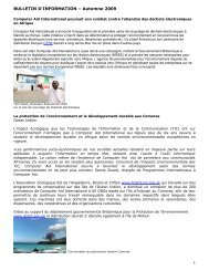 BULLETIN D'INFORMATION – Automne 2009 - Computer Aid ...
