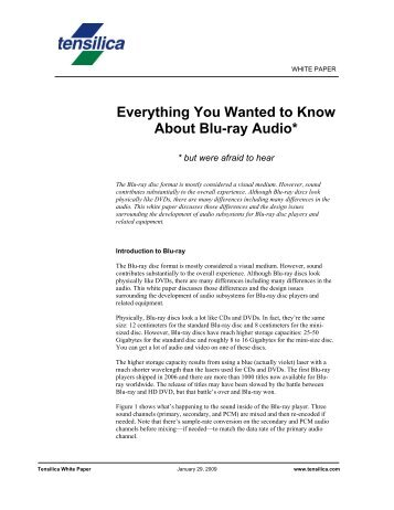 Everything You Wanted to Know About Blu-ray Audio - Tensilica