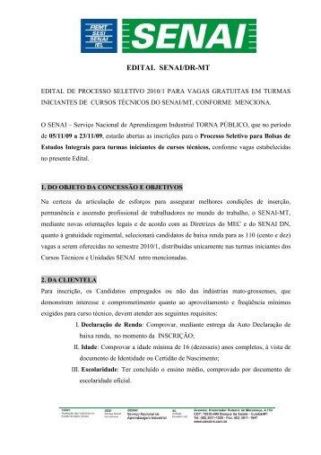 Edital do Processo Seletivo Cursos Técnicos 2010/01 - SENAI-MT