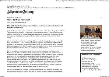 Allgemeine Zeitung - Druckansicht: Opfer der Nazi-Herrschaft