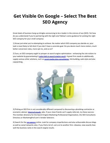 Get Visible On Google – Select The Best SEO Agency