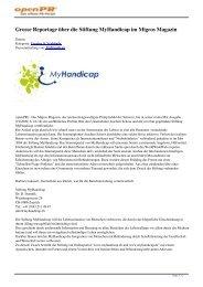 Grosse Reportage über die Stiftung MyHandicap im Migros Magazin