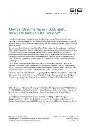 Medical Userinterfaces - S.I.E stellt modulare medical HMI Serie vor
