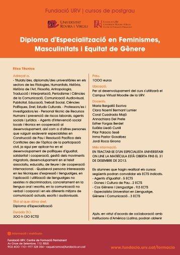 Diploma d'Especialització en Feminismes ... - Fundació URV