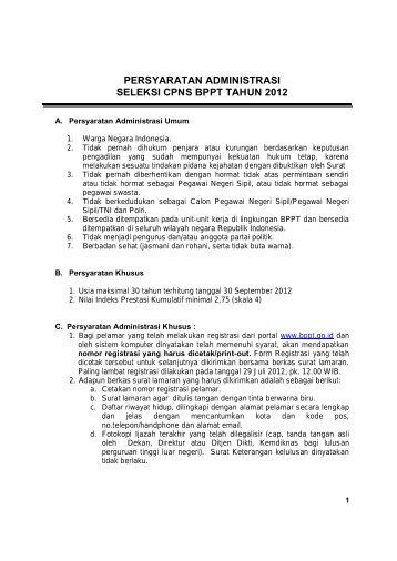 PERSYARATAN ADMINISTRASI SELEKSI CPNS BPPT TAHUN 2012