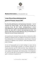 Linzer Brust-Gesundheitszentrum gewinnt Prozess Award 2007