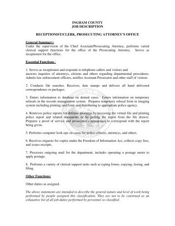 Receptionist Job Description  Finalweb