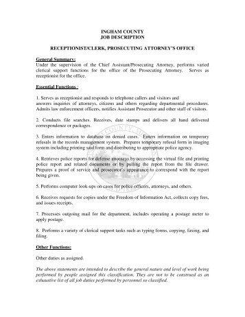 Receptionist Job Description Finalweb