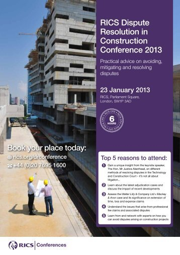 RICS Dispute Resolution in Construction Conference 2013