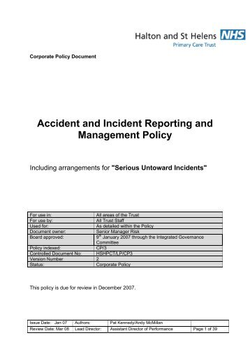Accident & Incident Policy - Halton and St Helens PCT