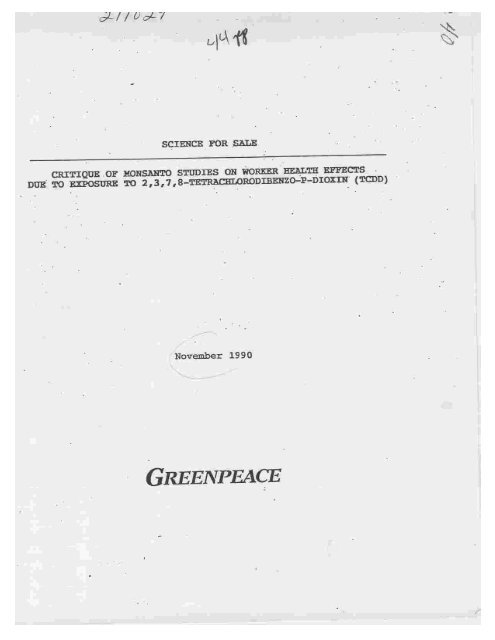 greenpeace report dioxin sciences for sale, nov 1990