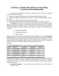capitolul 2. proiectarea modelului relaţional al datelor prin normalizare