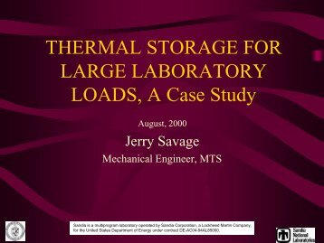 THERMAL STORAGE FOR LARGE LABORATORY LOADS, A Case ...