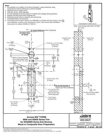 IN100 10 Line Cylindrical Lock Door Manufacturers Template