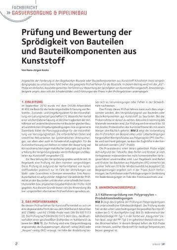 Prüfung und Bewertung der Sprödigkeit von Bauteilenund ...
