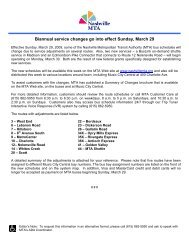 Biannual service changes go into effect Sunday ... - Nashville MTA