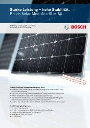 Starke Leistung – hohe Stabilität. Bosch Solar Module c ... - Scheiwiller