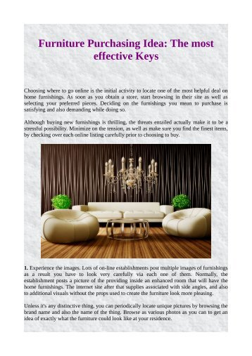 Furniture Purchasing Idea: The most effective Keys