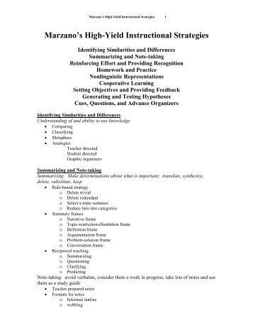 Marzanos Nine High Yield Instructional Strategies Zanesville