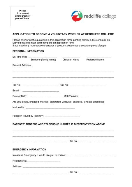 Volunteer programme application form - Redcliffe College