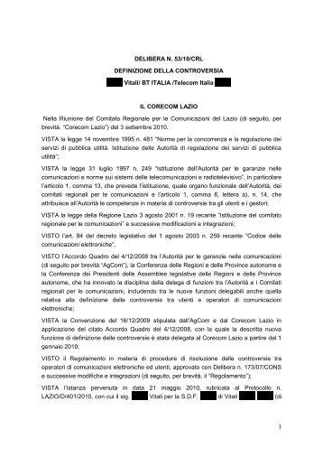 Delibera 53/10/CRL - Corecom Lazio