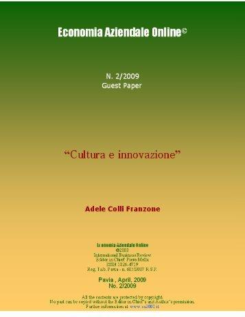 Cultura e innovazione - Economia Aziendale Online - Università ...