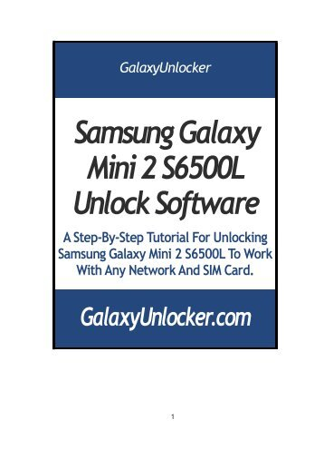 Samsung Galaxy Mini 2 S6500L Unlock Software - GalaxyUnlocker